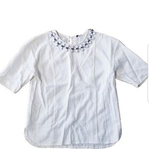 Cute Express Top With Embellished Neckline